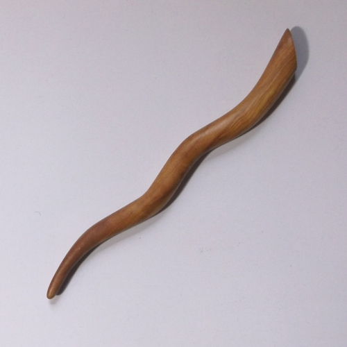 Olivewood wavy hairstick handmade by Natrual Craft for Longhaired Jewels