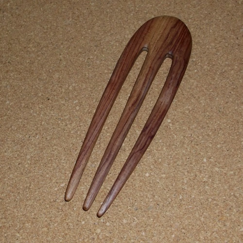 Rosewood 3 prong wavy hairsticks supplied  by Longhaired Jewels