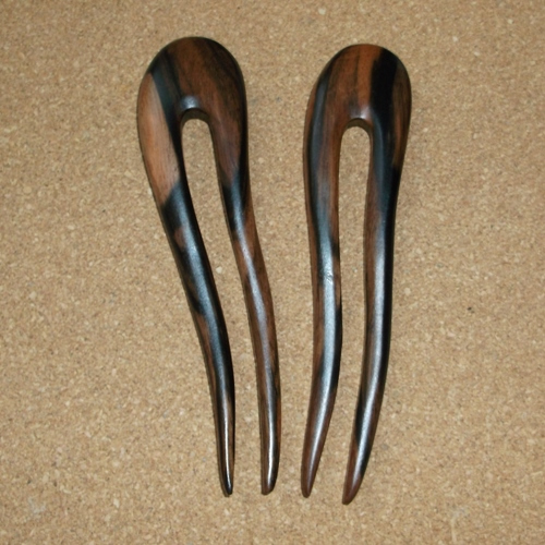 Striped Ebony 2 prong curved hairfork supplied  by Longhaired Jewels