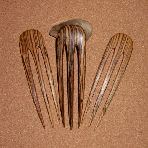 Bocote wood 3 prong hairforks supplied  by Longhaired Jewels