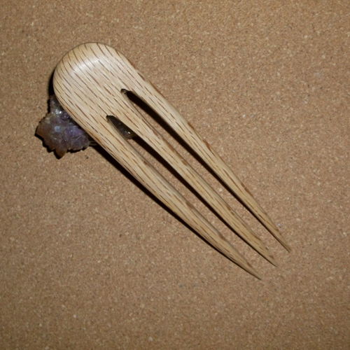 Oak large 3 prong hair fork supplied by Longhaired Jewels