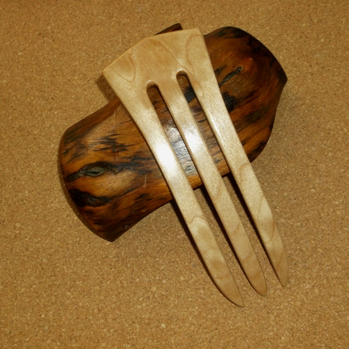 Quilted Maple 3 prong hair fork by Jeter and sold in the UK by Longhaired Jewels