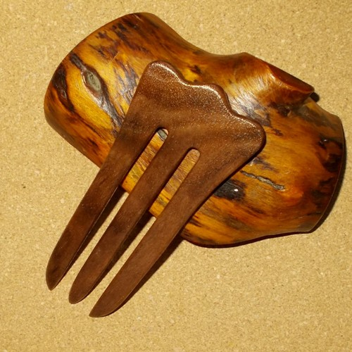 Walnut 3 prong hair fork by Jeter and sold in the UK by Longhaired Jewels
