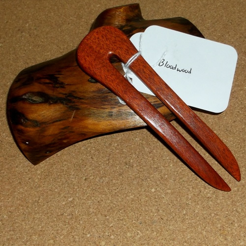 American 2 prong Bloodwood hairfork supplied by Longhaired Jewels