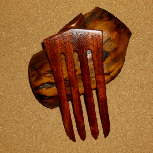 Figured Bubinga 4 prong hairfork by Jeter and sold through Longhaired Jewels