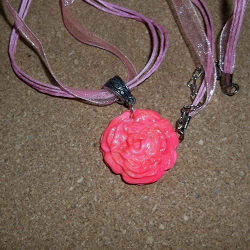 Homemade Polymer Rose Pendant necklace - supplied by Longhaired Jewels