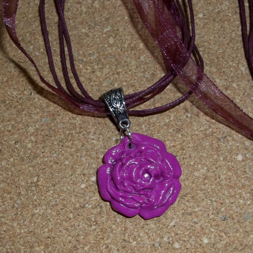 Homemade Violet polymer rose pendant from Longhaired Jewels