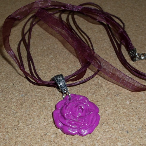 Homemade Violet coloured Polymer Rose Pendant necklace - supplied by Longhaired Jewels