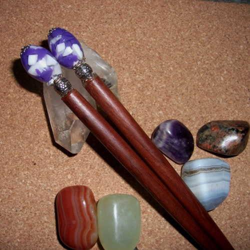 Purple Crush hairsticks handmade and supplied  by Longhaired Jewels